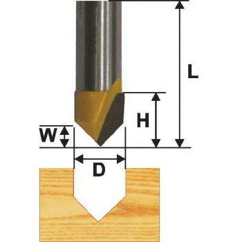 Фреза пазовая гальтельная  V-образ.  90 гр 15,8мм хв. 8мм
