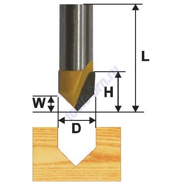 Фреза пазовая гальтельная  V-образ.  90 гр 24,5 мм хв. 12мм