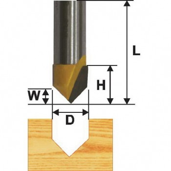 Фреза пазовая гальтельная  V-образ.  90 гр 6,3мм хв. 8мм