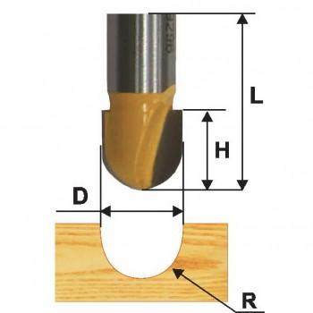 Фреза пазовая гальтельная 9,5 R4,8мм хв. 8мм
