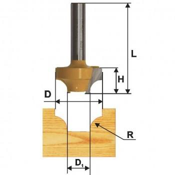 Фреза пазовая фасонная 25,4 R6,35мм хв. 8мм