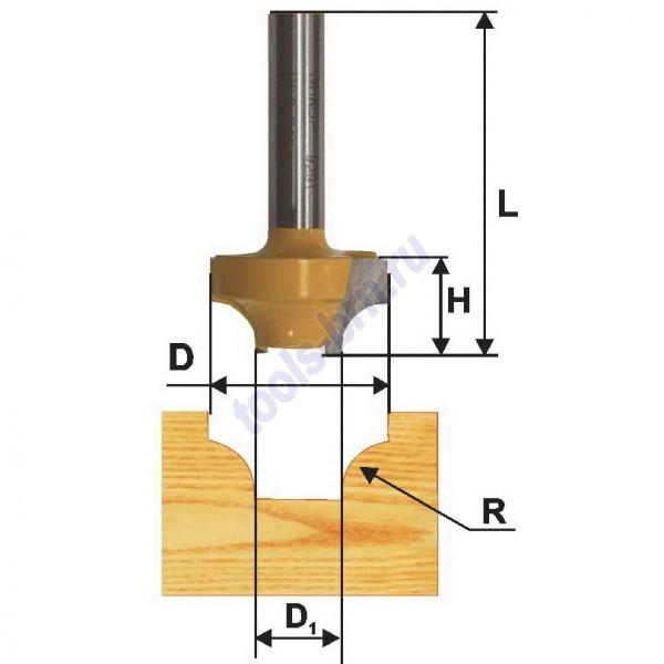Фреза пазовая фасонная 38,1 R12,7мм хв. 8мм